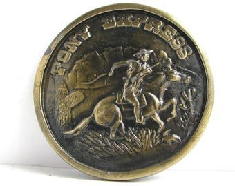 Vintage Pony Express Rider Brass Belt Buckle with Horse