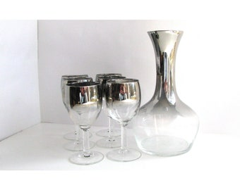 Vintage Silver Ombre Glass Wine Decanter and Glasses