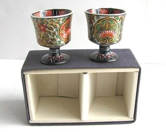 Japanese Imari Footed Sake Cup Pair
