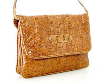 149644700678 Vintage 1970s Snakeskin Leather Shoulder Bag With Extendable Straps