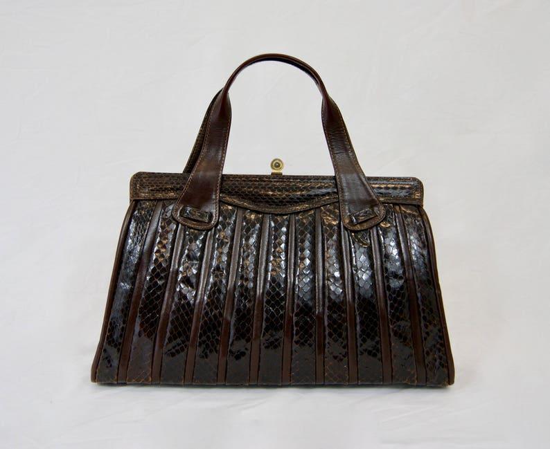 61e21b62a6e6 Vintage 1970 Real Snakeskin Leather Chocolate Brown Handbag