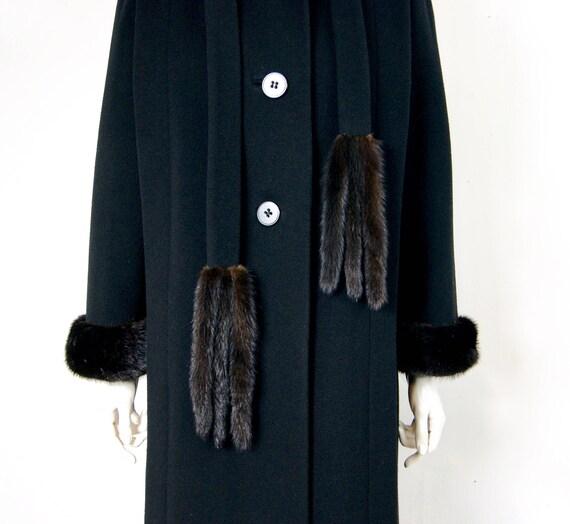 Pauline Trigère Coat, 1980s Ranch Mink Trimmed St… - image 6