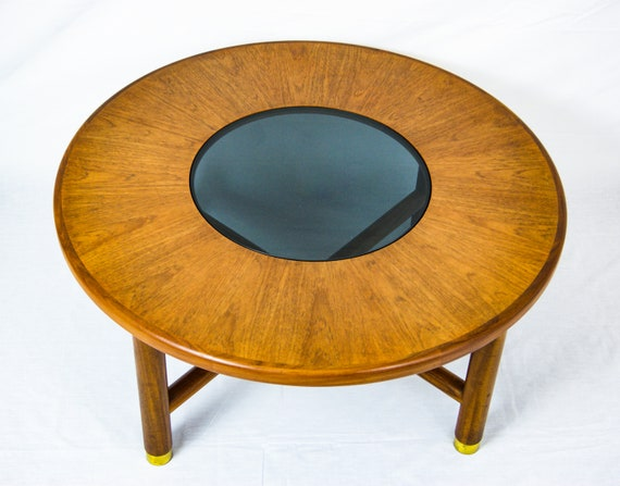 Pleasant G Plan Teak Wood Round Coffee Table With Smoked Glass Top And Brass Feet Lamtechconsult Wood Chair Design Ideas Lamtechconsultcom