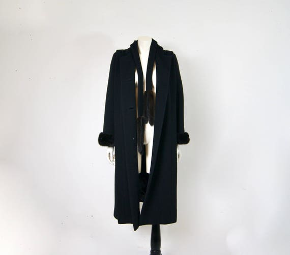 Pauline Trigère Coat, 1980s Ranch Mink Trimmed Str