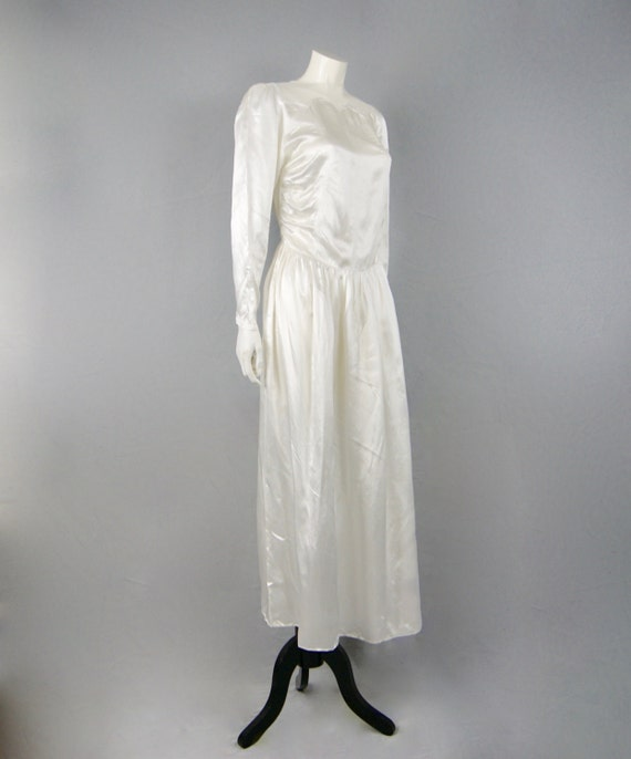 Neckline Scalloped Silk amp; Satin Dress Deco Panel Vintage Bridal Wedding Mesh Belted Art Sweetheart 1930s q47BvxS