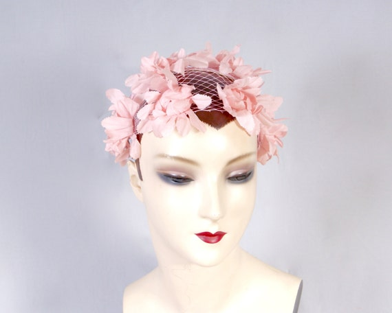 50s Pink Petal Bridal Wedding Fascinator, Pillbox… - image 3