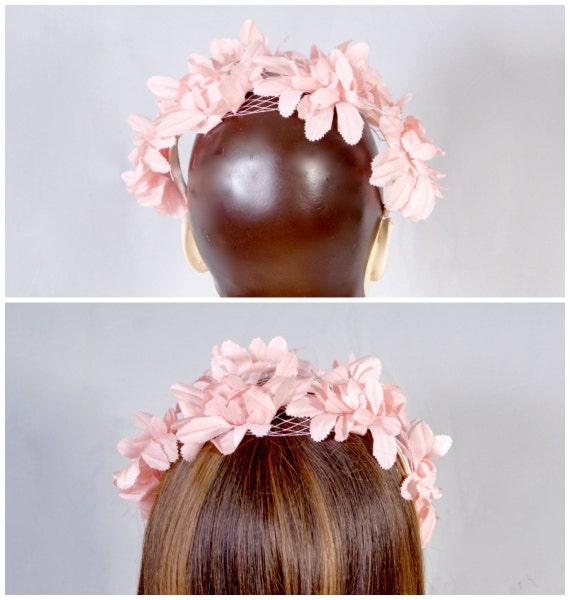 50s Pink Petal Bridal Wedding Fascinator, Pillbox… - image 5
