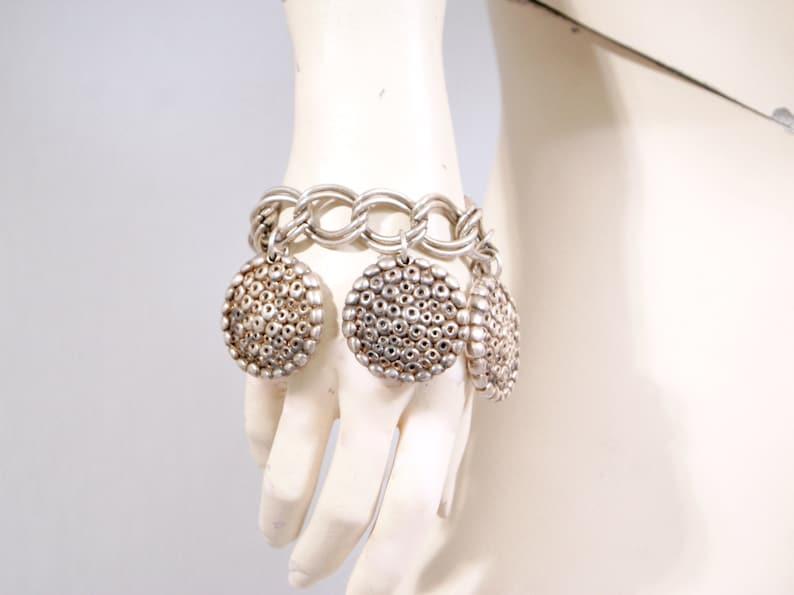 PHILIPPE AUDIBERT Paris Vintage Chunky Silver Charm Bracelet Chain Link Bangle