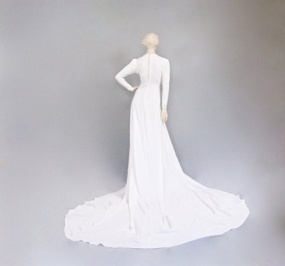 1930s Art Deco Bridal Gown, Embroidered Applique C