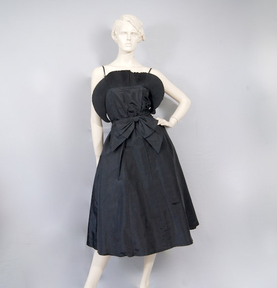 Vintage 50s Taffeta Silk Dress Butterfly Effect Pa