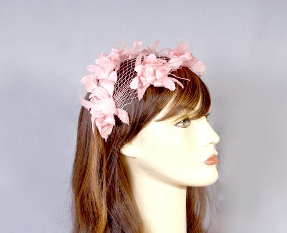 50s Pink Petal Bridal Wedding Fascinator, Pillbox… - image 2