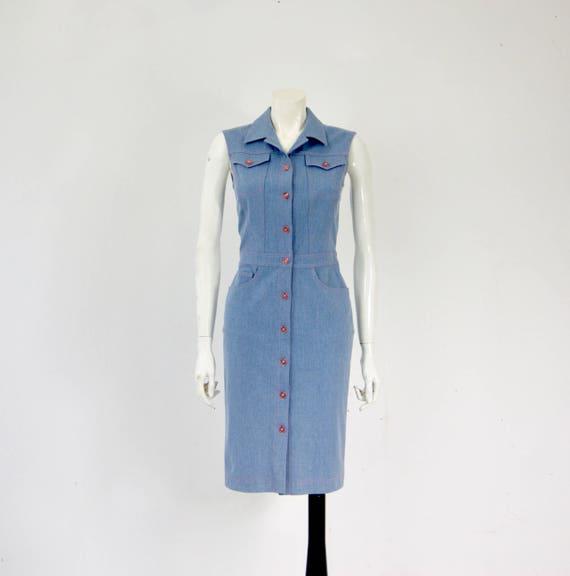 Vintage ESCADA Denim Dress, - image 1