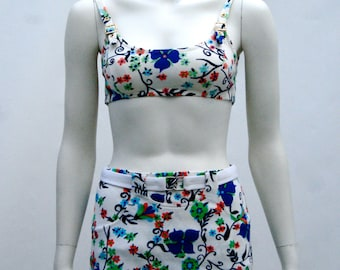 Original Vintage 1950s Bombshell Pinup 4 Piece Swimsuit Bathing Suit