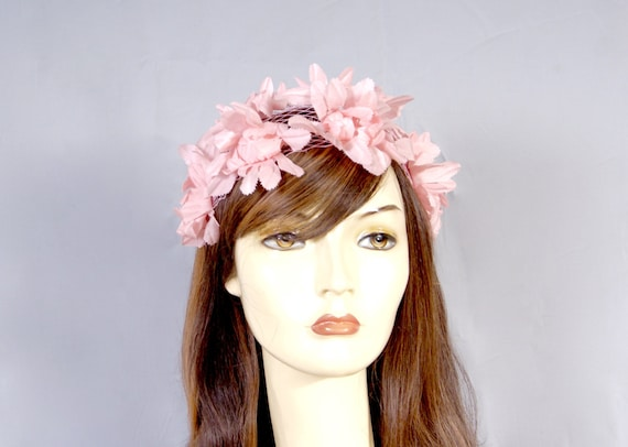 50s Pink Petal Bridal Wedding Fascinator, Pillbox