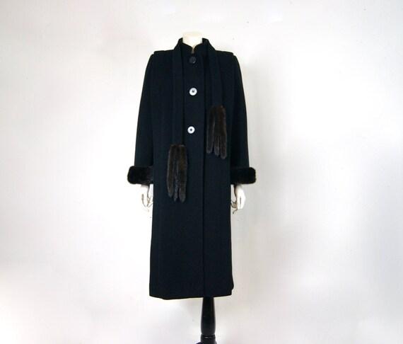 Pauline Trigère Coat, 1980s Ranch Mink Trimmed St… - image 3
