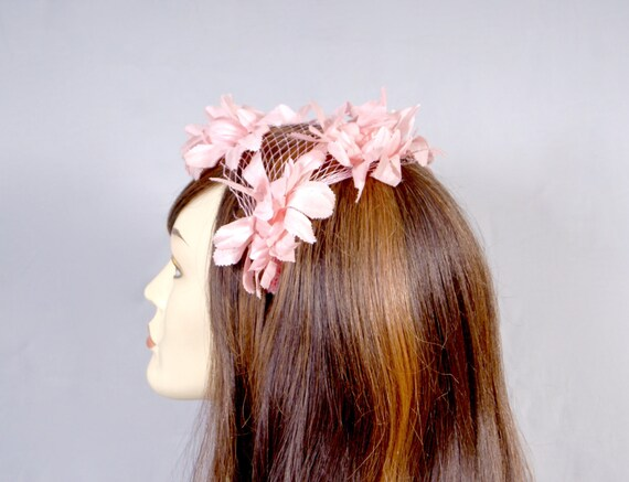 50s Pink Petal Bridal Wedding Fascinator, Pillbox… - image 4