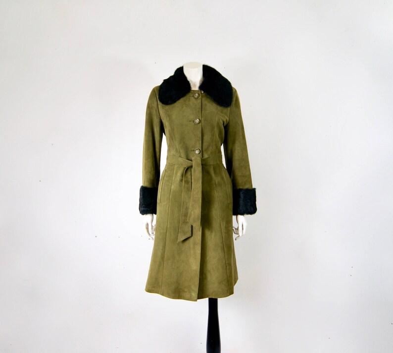 b1ce6ca4af Rembrandt London 1970s Olive Green Suede Leather   Fox Fur