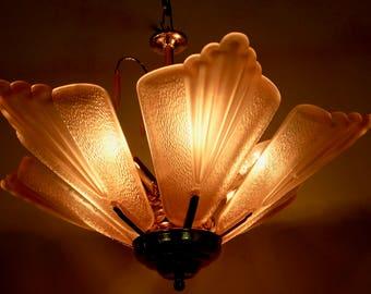 1960 Venetian Murano Chandelier Ceiling Hanging Lamp