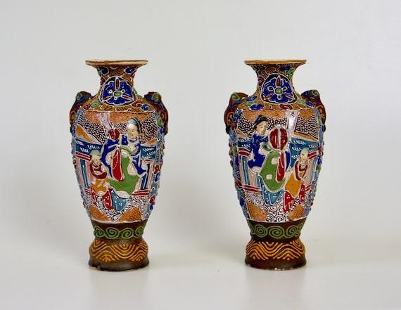 Vintage Satsuma Vases Pair Of 1960s Japanese Pottery Etsy
