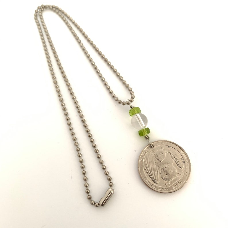 Clear Quartz and glass beads. Travel Jewelry Bat Quarter US Coin Necklace