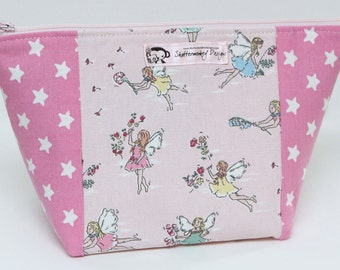 Medium Zipped Pouch for Crafting Projects - Garden Fairies Themed