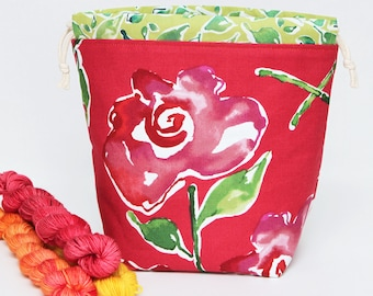 Small Drawstring Bag for Crafting Projects - Floral Garden Themed