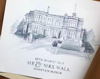 Custom Wedding Venue Illustration, Watercolour Venue Illustration