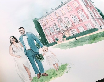 Wedding Venue Illustration with Portraits