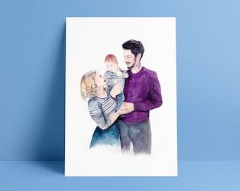 Custom Portrait, Watercolour Portrait, Family Portrait, Couple Portrait