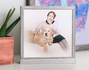 Pet and Owner Portrait, Custom Pet and Owner Portrait