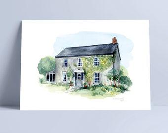 Watercolour House Portrait, Custom Home Portrait