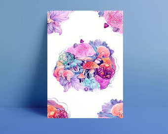 Mushroom Magic, Psychedelic Mushroom, A3 Print