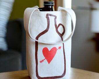 Beer Love Growler Bag, Screen Printed Canvas Growler Tote, Growler Carrier, Craft Beer Gift, Gift for Him, Beer Lover Gift, Under 30 Dollars
