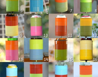 Two Tone Hobo Tin Can Beer Holder/ Garden Drink Holder/ Beverage Stake- Choose your colors