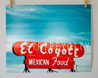 Los Angeles Color Photography/ El Coyote Mexican Food/ Classic Hollywood Photo/ Retro Photography Print/ Hollywood Photography