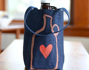 Growler Bag, Screen Printed Denim Tote, Beer Gift for Him, Beer Bag, Beer Lover Gift, Under 25 Dollars, Valentine's Gift, Valentine's Love