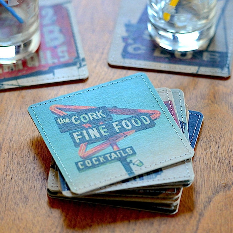 Cocktail Bar Photo Coasters Handmade from Upcycled Cardboard image 0