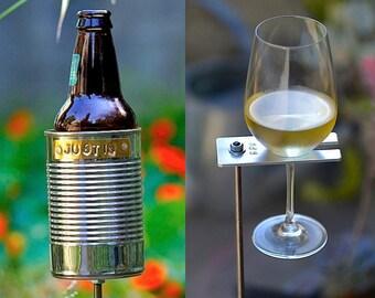 Hobo Tin Can Beer Holder + Boho Wine Glass Holder/  Beer + Wine Garden Drink Holder Set