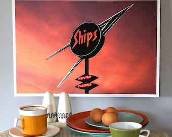 Original Color Photo Print, Extinct Los Angeles Coffee Shop, Color Photography, Ships Diner