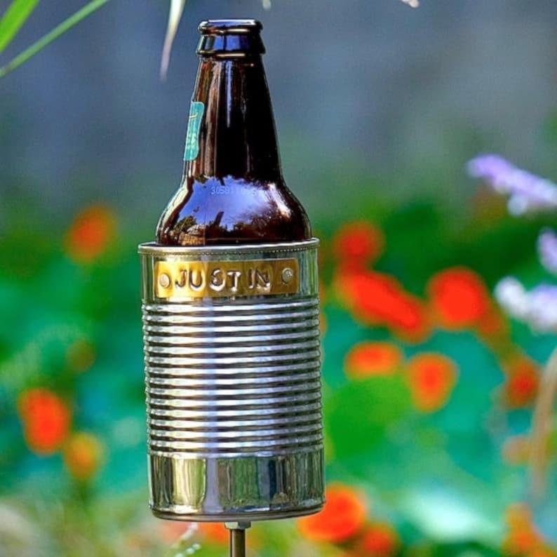 Hobo Tin Can Beer Holder/ Garden Drink Holder/ Outdoor image 0