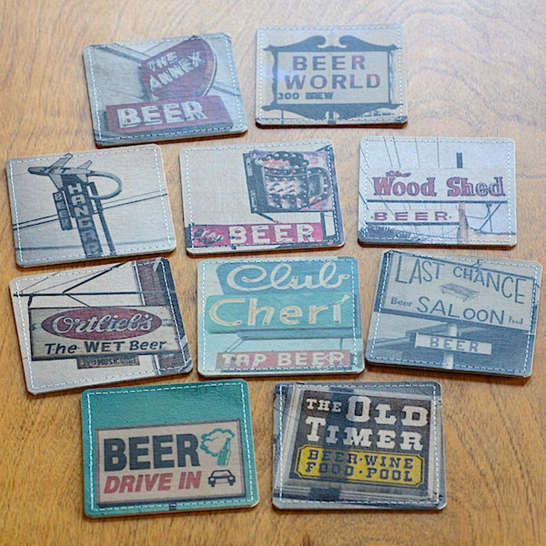 Beer Bar Photo Coasters Handmade from Upcycled Cardboard image 0