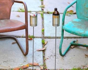 2 Hobo Tin Can Beer Holders/ Personalised Garden Drink Holders
