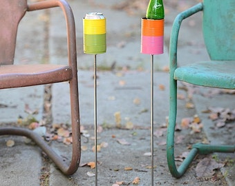 Pair of Two Tone Hobo Tin Can Beer Holder/ 2 Garden Drink Holders- Choose your colors