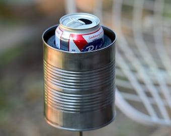 Large Hobo Tin Can Beer Holder, Outdoor Drink Holder, 10 Year Anniversary Gift for Men, Wine Bottle Holder, Drink Stake, 10th Anniversary