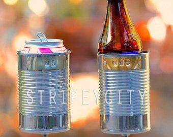 MR & MRS Hobo Tin Can Beer Holders, 10 Year Anniversary Gift for Him, Her, Tin Anniversary Gift, Wedding Gift, Garden Drink Holders