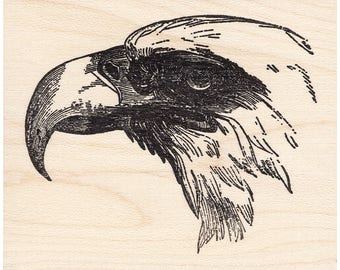 Eagle Profile 827K Beeswax Rubber Stamps Unmounted Cling Mounted Stamp Scenic Landscape Stamping
