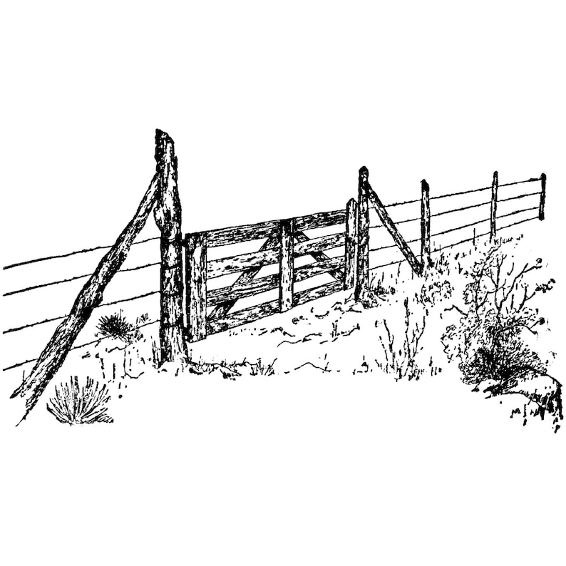 Landscape Stamping Ranch Fence 94K Beeswax Rubber Stamps Unmounted Mounted Stamp Scenic Cling