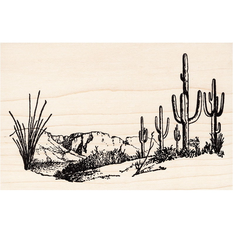 Cling Mounted Stamp Scenic Landscape Stamping Mesa Scene 1487N Beeswax Rubber Stamps Unmounted