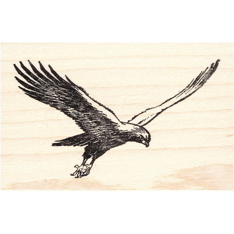 Eagle 192G Bird Rubber Stamp Scenic Animal Landscape Stamping