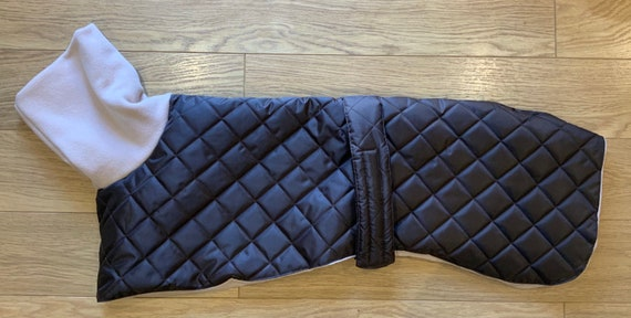 Greyhound and whippet brown waterproof winter quilted coats with a long fleece cream neck readymade